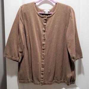 CJ Banks Tan 3/4 Sleeve Button Knit Cardigan 2X